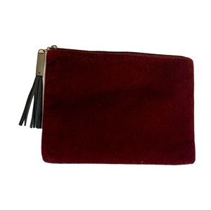 Nordstrom Red velevet zip clutch with tassle